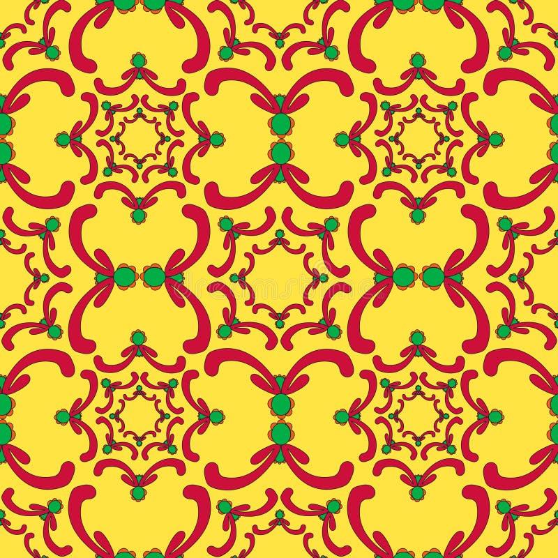 Teste padrão sem emenda decorativo Elementos vermelhos e verdes da curva ilustração stock