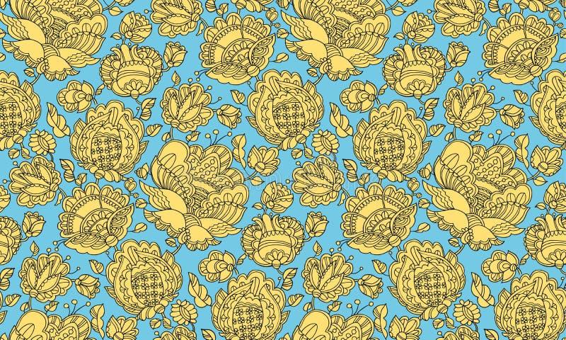 teste padrão sem emenda decorativo floral do Povo-estilo ilustração royalty free