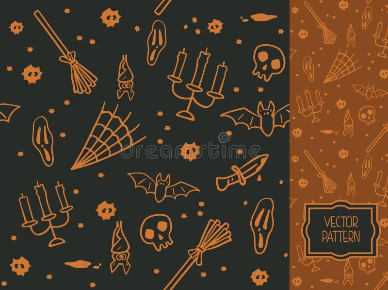 Teste padrão sem emenda decorativo para Dia das Bruxas ilustração royalty free