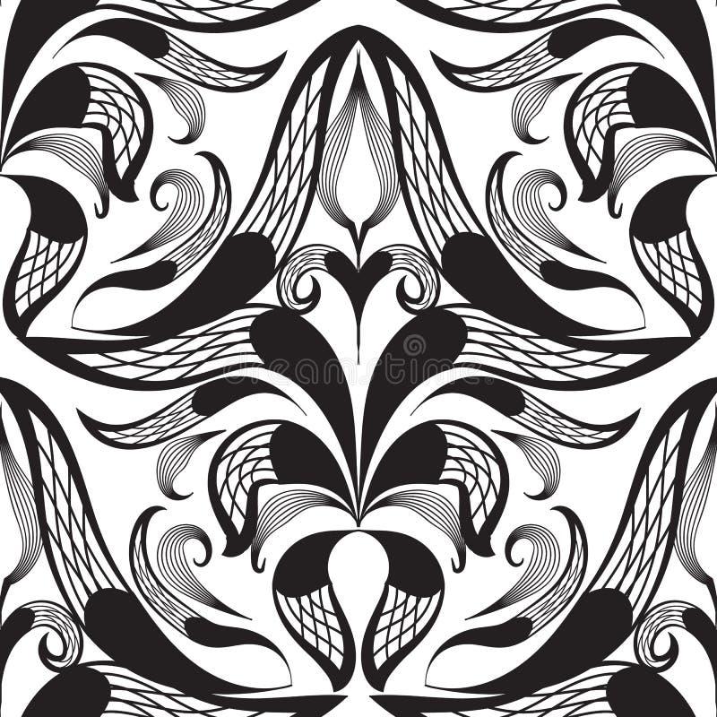 Teste padrão sem emenda decorativo preto e branco do damasco Ornam do vetor ilustração stock