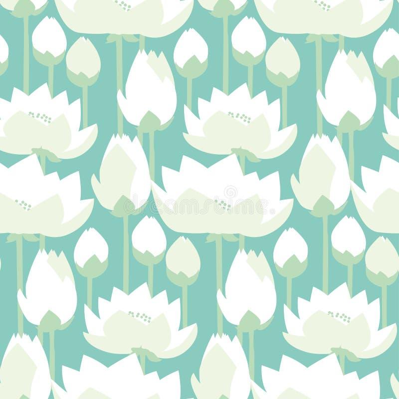 Teste padrão sem emenda decrataive dos lírios lisos dos lótus do projeto ilustração royalty free
