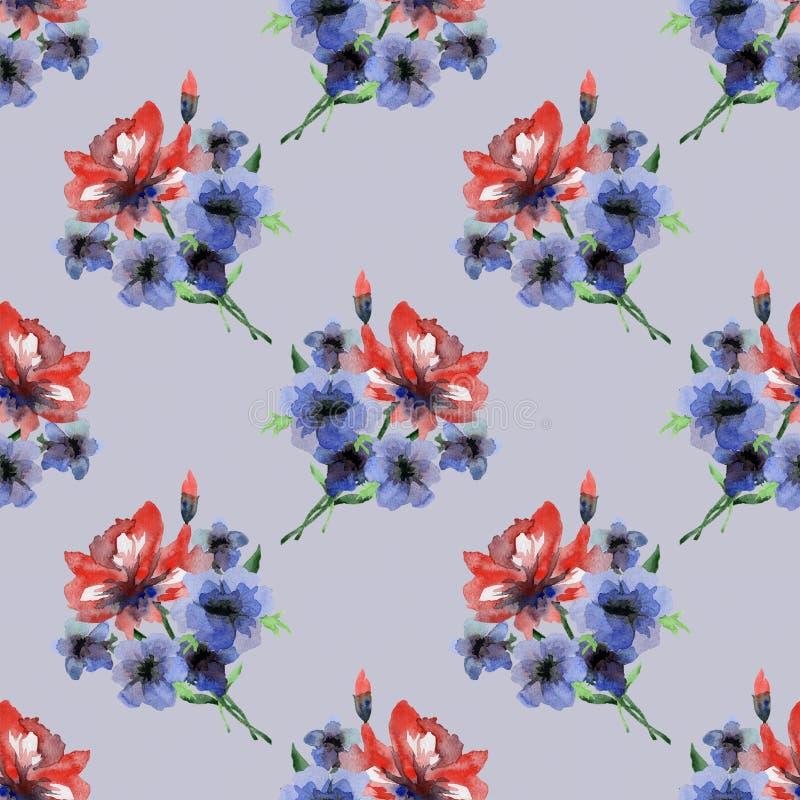 Teste padrão sem emenda delicado da aquarela com as flores vermelhas e azuis dos verões no fundo lilás ilustração royalty free