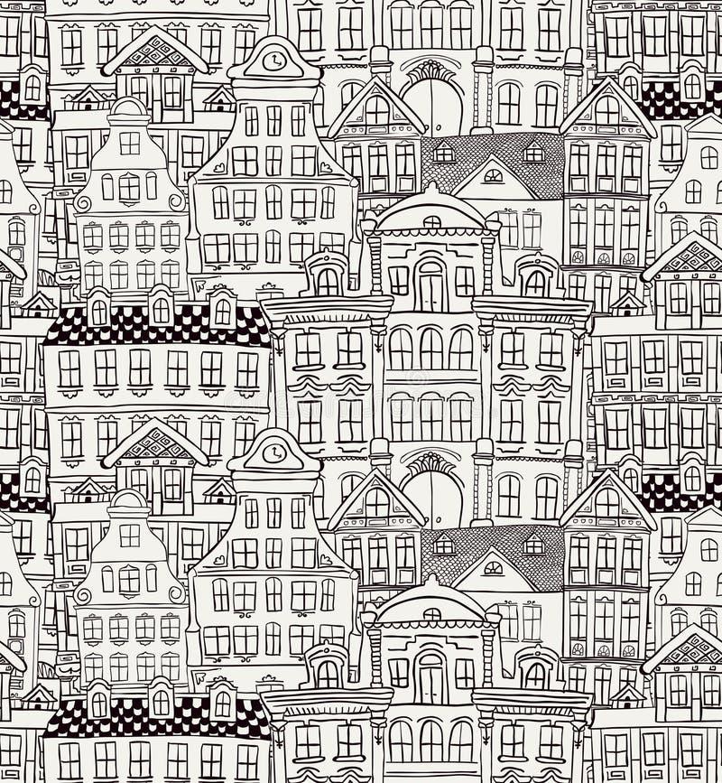 Teste padrão sem emenda denominado velho das casas ilustração stock