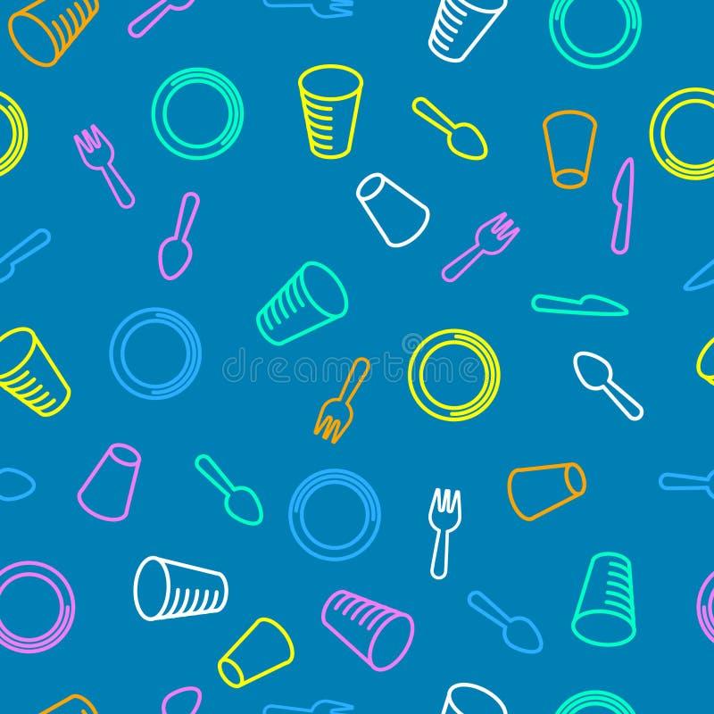 Teste padrão sem emenda Teste padrão descartável dos utensílios de mesa Placas, vidros e cutelaria coloridos em um fundo azul ilustração royalty free
