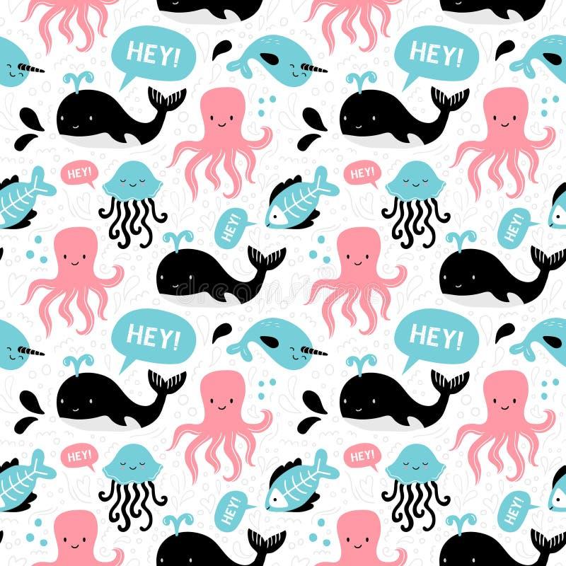 Teste padrão sem emenda desenhado à mão com animais e texto de mar Ilustração dos desenhos animados com baleia, polvo, medusa e o ilustração do vetor