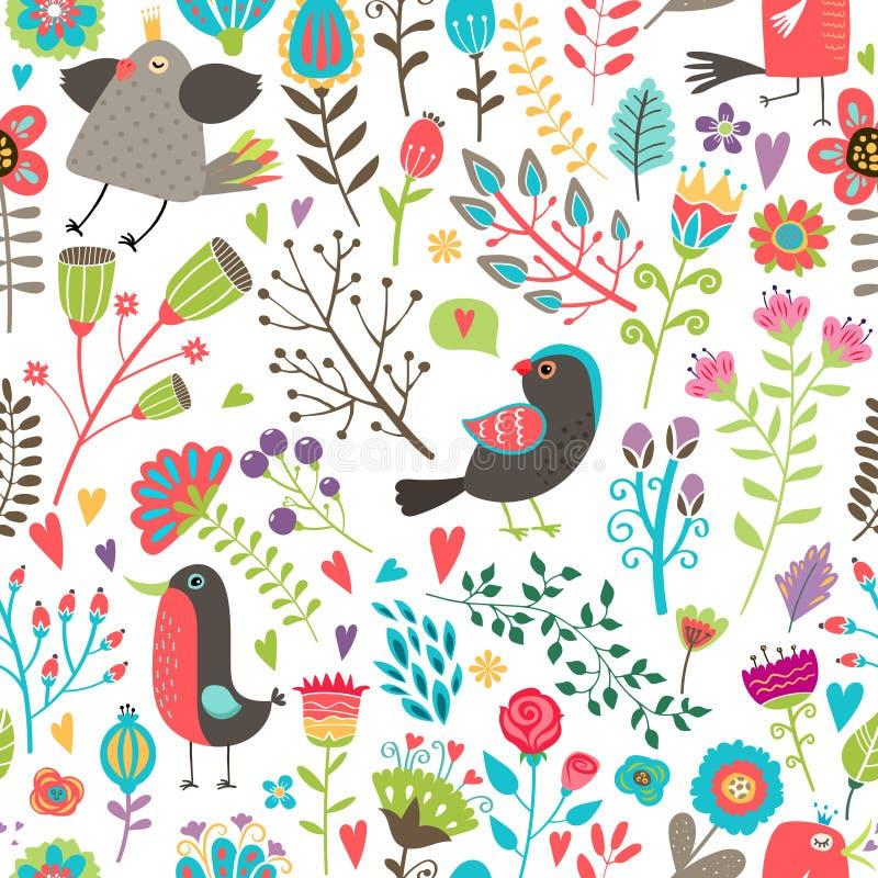 Teste padrão sem emenda desenhado à mão dos pássaros e das flores ilustração do vetor
