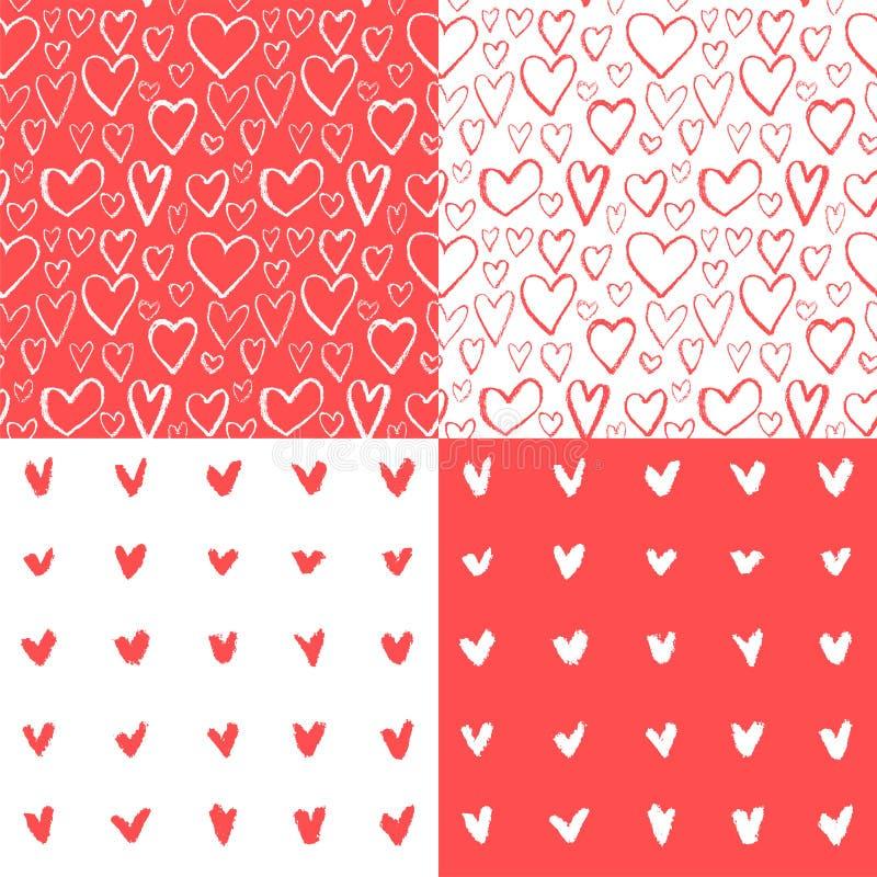 Teste padrão sem emenda desenhado mão do coração ilustração stock