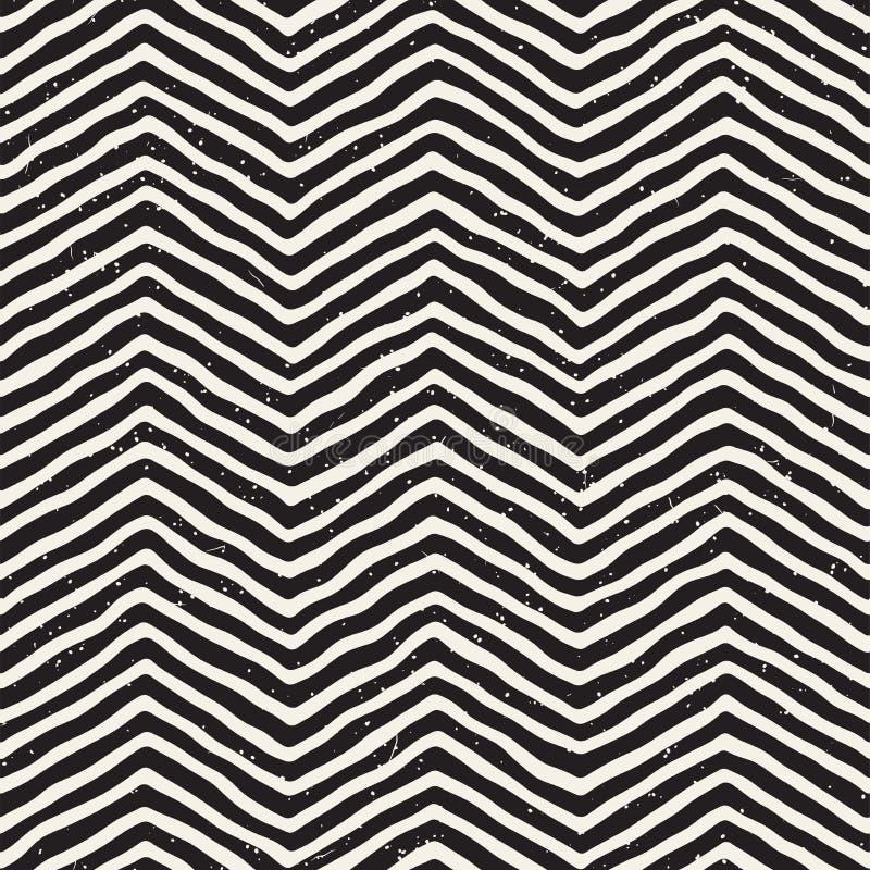 Teste padrão sem emenda desenhado mão Fundo geométrico abstrato da telha em preto e branco Linha à moda estrutura da garatuja do  ilustração stock