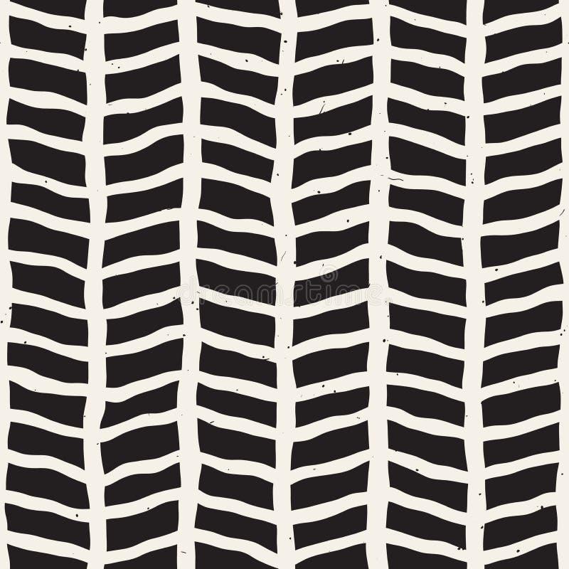 Teste padrão sem emenda desenhado mão Fundo geométrico abstrato da telha em preto e branco Linha à moda estrutura da garatuja do  ilustração do vetor