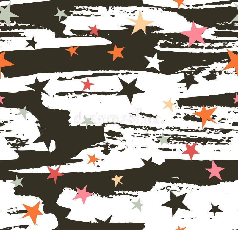 Teste padrão sem emenda desenhado mão Projeto da listra do fundo do moderno do vetor com as estrelas no céu noturno ilustração royalty free
