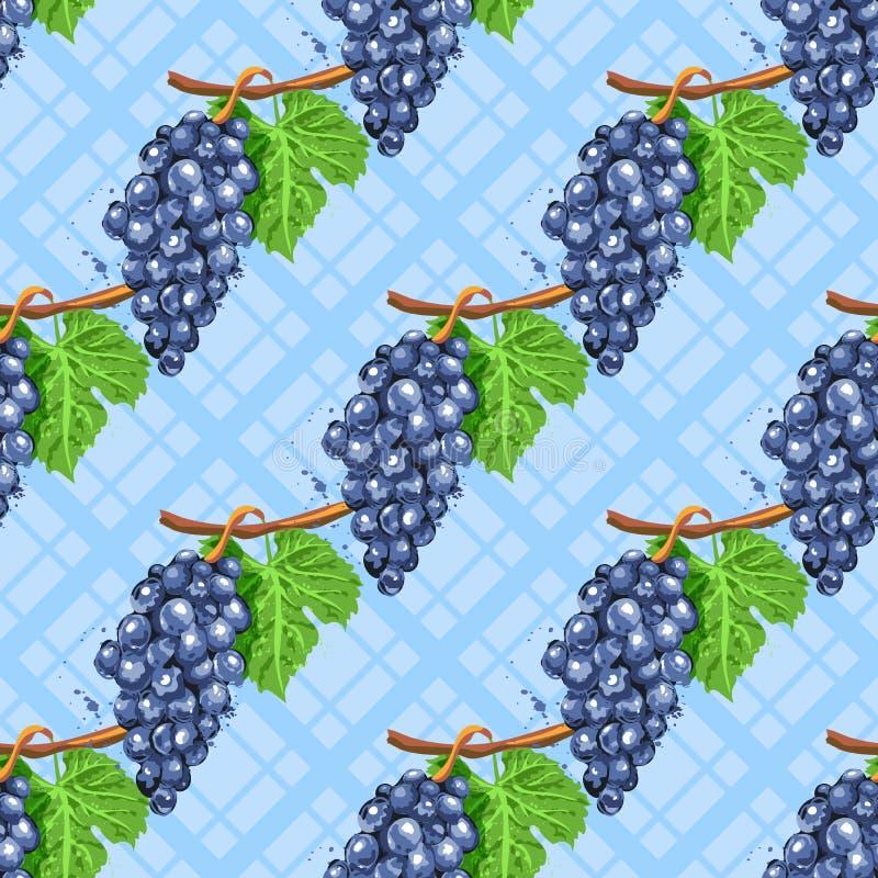 Teste padrão sem emenda diagonal das uvas da aquarela Grupos da aquarela de uvas em um fundo azul quadriculado isolado ilustração royalty free