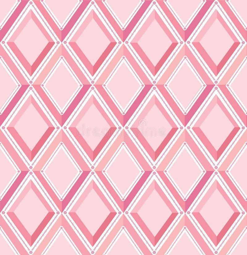Teste padrão sem emenda: diamantes cor-de-rosa ilustração do vetor