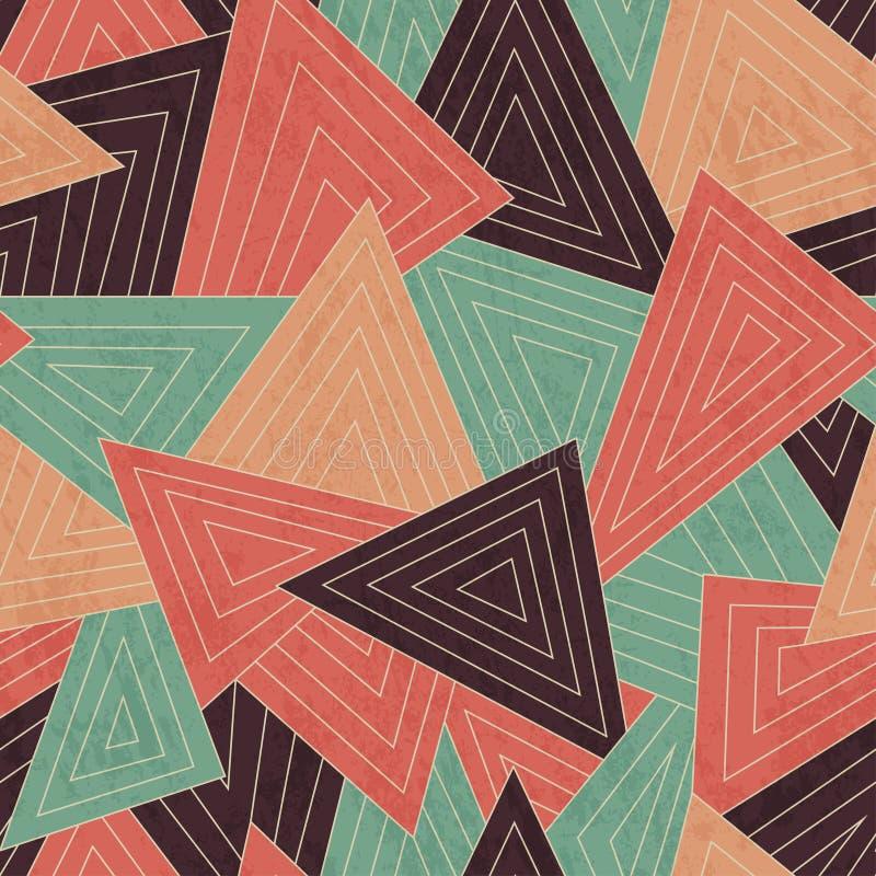 Teste padrão sem emenda dispersado retro do triângulo com efeito do grunge ilustração stock