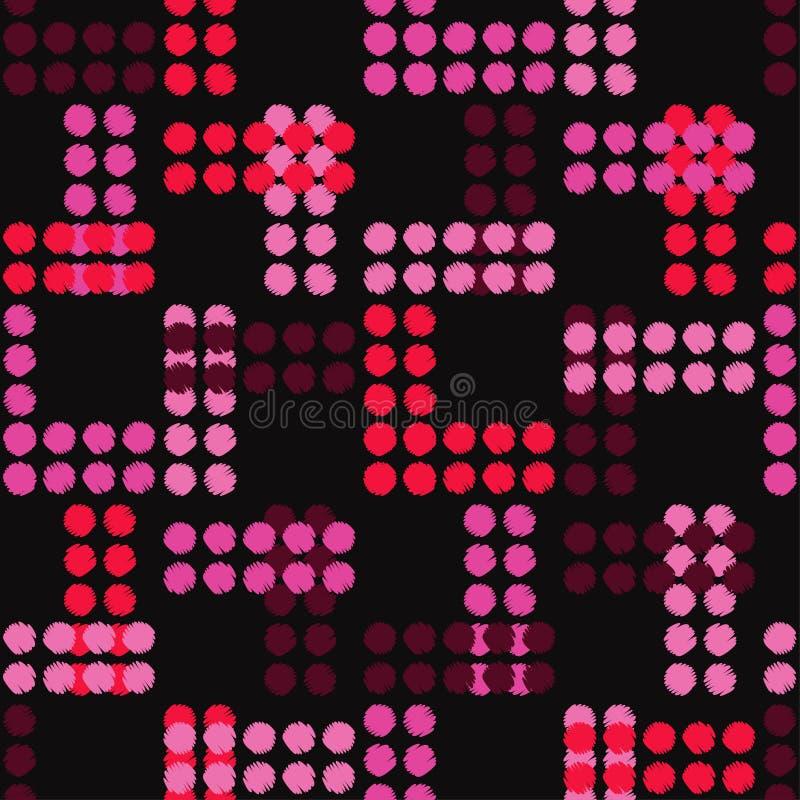 Teste padrão sem emenda do às bolinhas Choque da mão brushwork reticulação Fundo geométrico Textura do garrancho ilustração stock