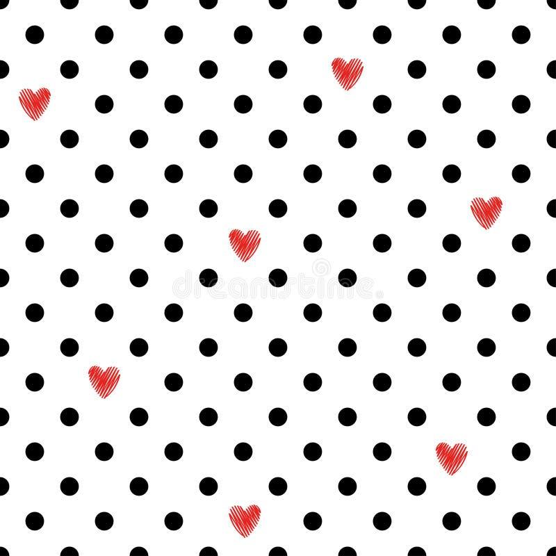 Teste padrão sem emenda do às bolinhas com corações vermelhos ilustração stock
