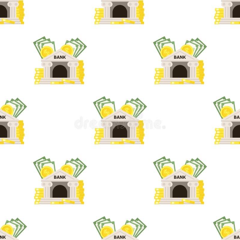 Teste padrão sem emenda do ícone do banco e do dinheiro ilustração do vetor