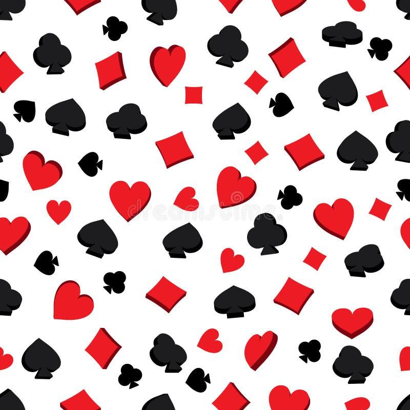 teste padrão sem emenda do ícone do cartão do pôquer 3d ilustração royalty free