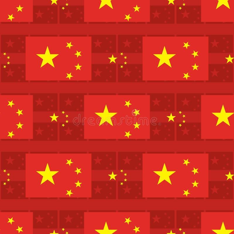 Teste padrão sem emenda do ícone da bandeira da estrela de China cinco ilustração do vetor
