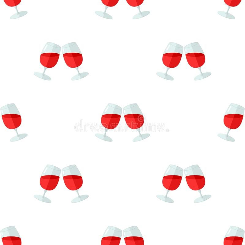 Teste padrão sem emenda do ícone de dois vidros de vinho ilustração stock