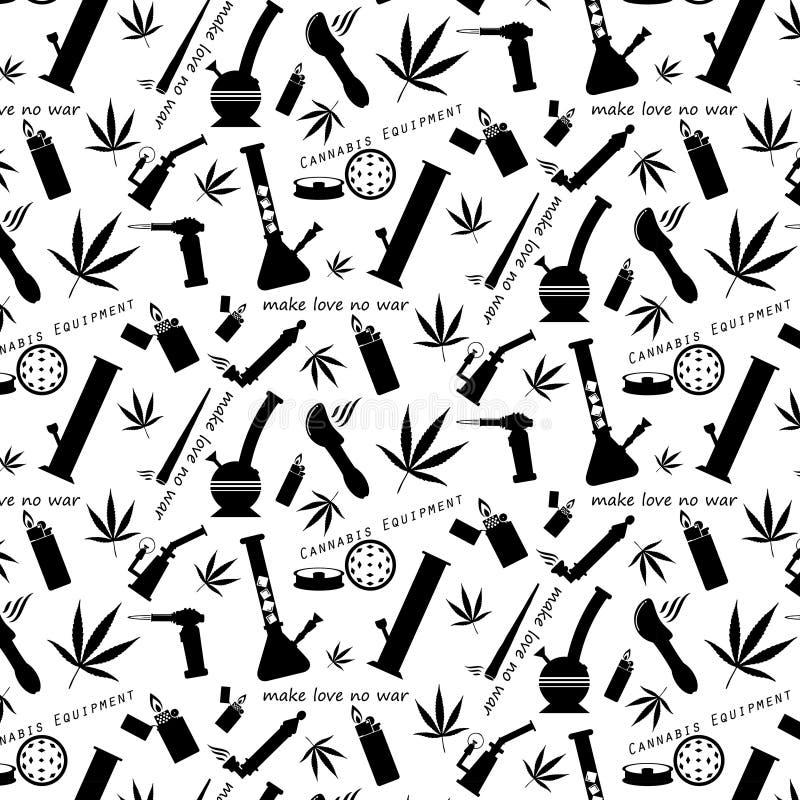 Teste padrão sem emenda do ícone do equipamento do cannabis ilustração do vetor