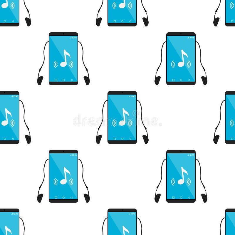 Teste padrão sem emenda do ícone do jogador de música Mp3 ilustração do vetor