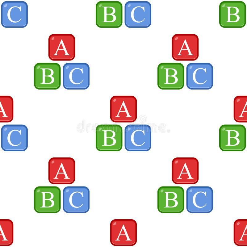 Teste padrão sem emenda do ícone liso do alfabeto de ABC ilustração do vetor