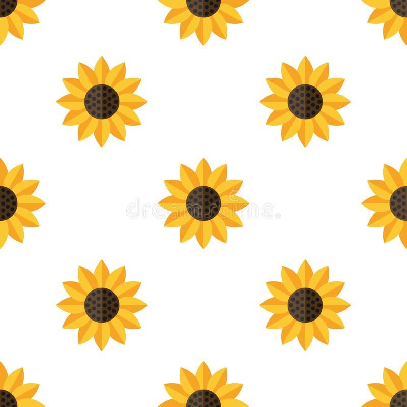 Teste padrão sem emenda do ícone liso amarelo do girassol ilustração royalty free