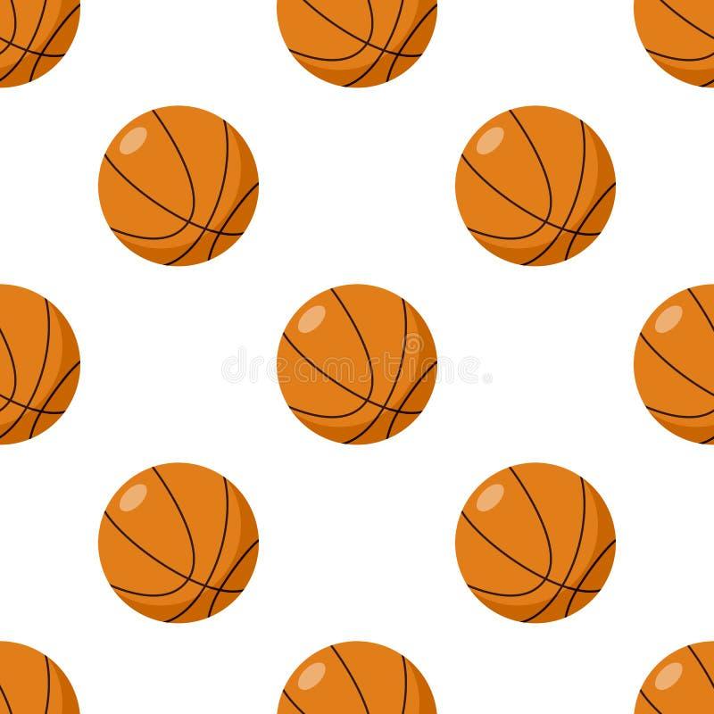 Teste padrão sem emenda do ícone liso da bola do basquetebol ilustração royalty free