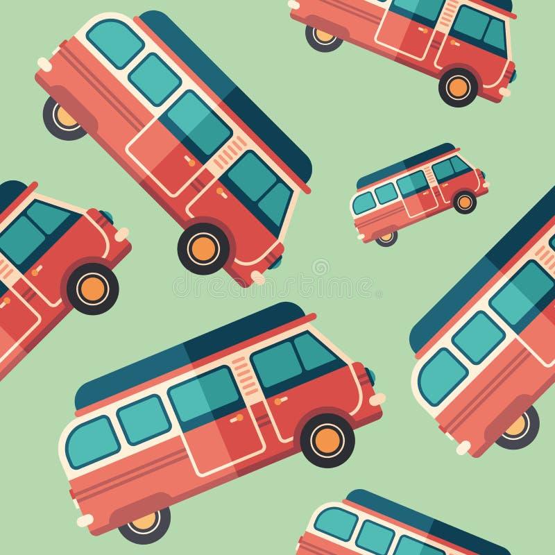 Teste padrão sem emenda do ícone liso da camionete do curso ilustração stock