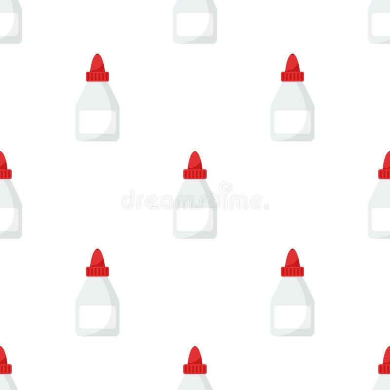 Teste padrão sem emenda do ícone liso da garrafa do tubo da colagem ilustração stock