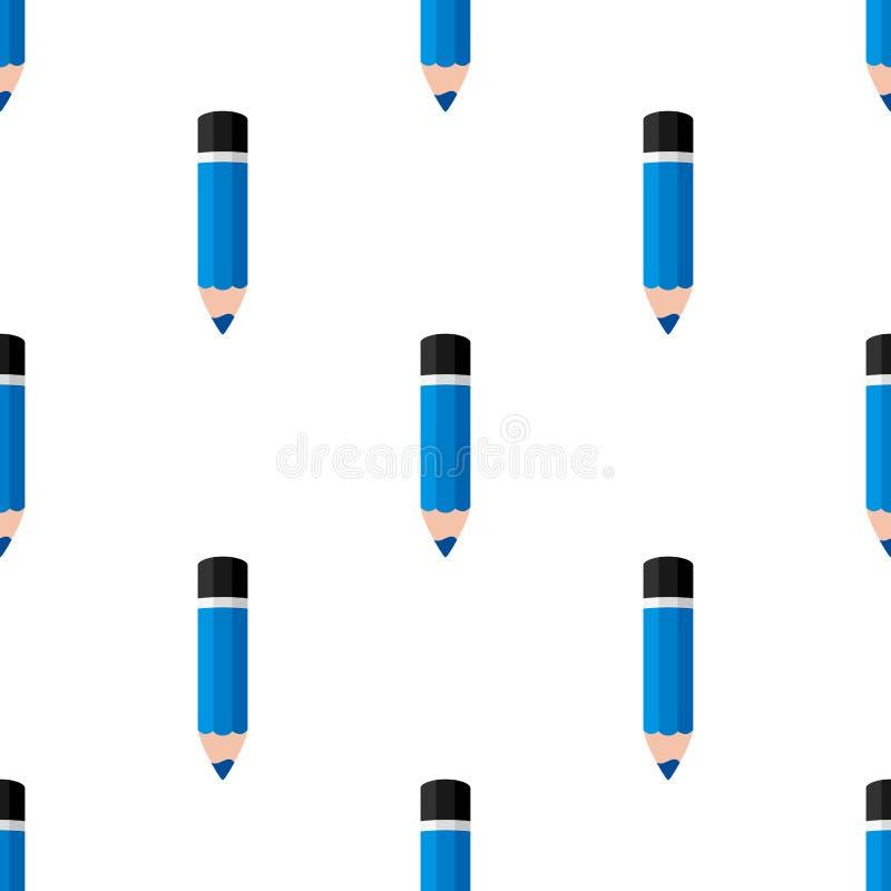 Teste padrão sem emenda do ícone pequeno azul do lápis ilustração stock