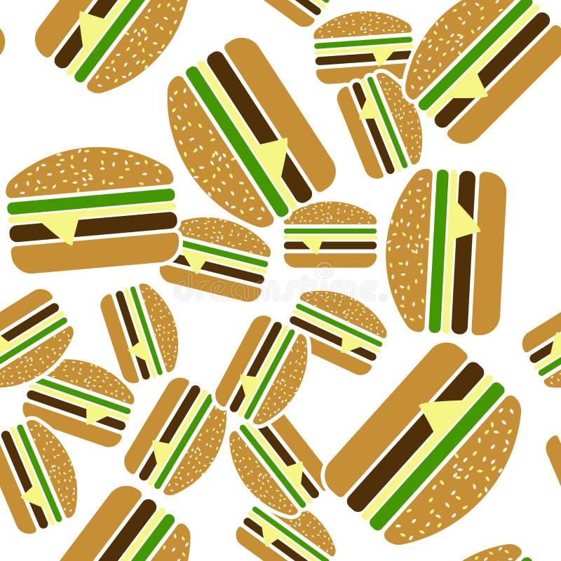 Teste padrão sem emenda do ícone do vetor do Hamburger em um fundo branco ilustração do vetor