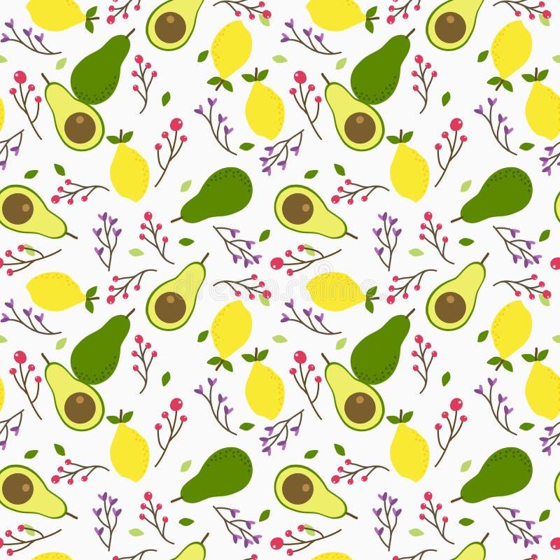 Teste padrão sem emenda do abacate e do limão ilustração stock