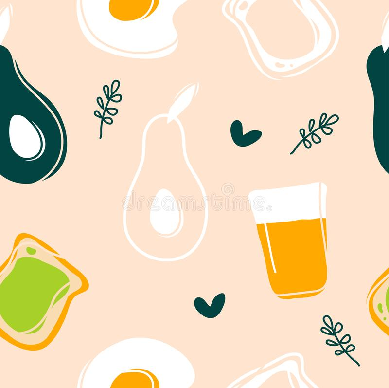 Teste padrão sem emenda do abacate, do ovo frito, do brinde e do suco ilustração stock