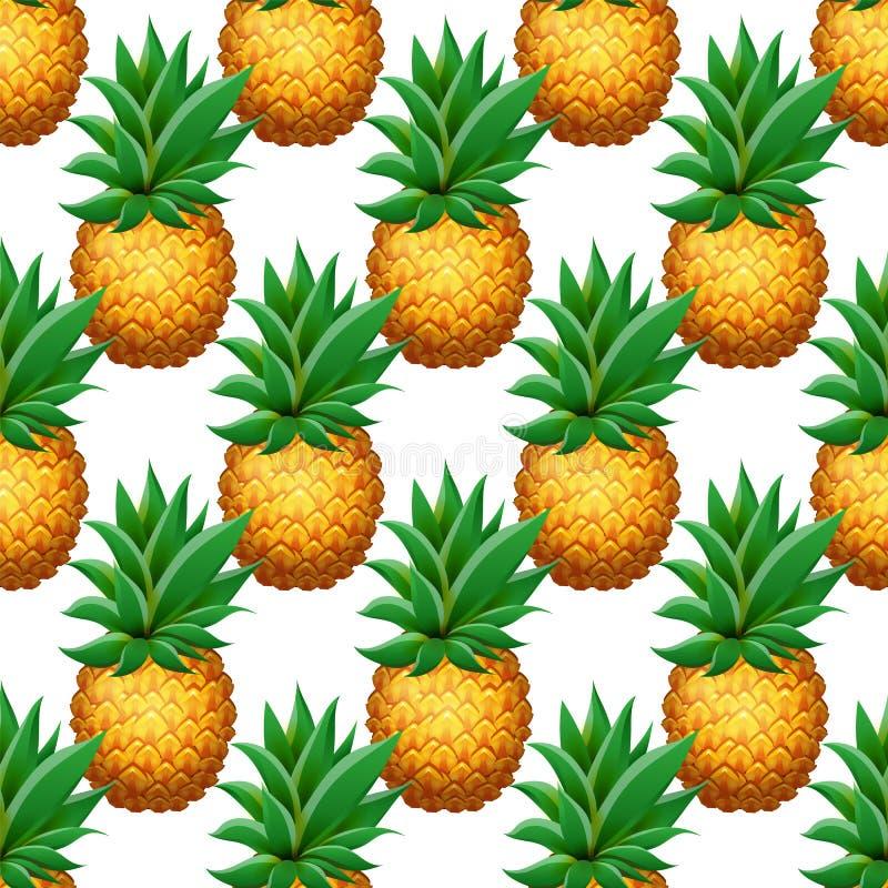 Teste padrão sem emenda do abacaxi Abacaxis realísticos dos desenhos animados no fundo branco ilustração royalty free