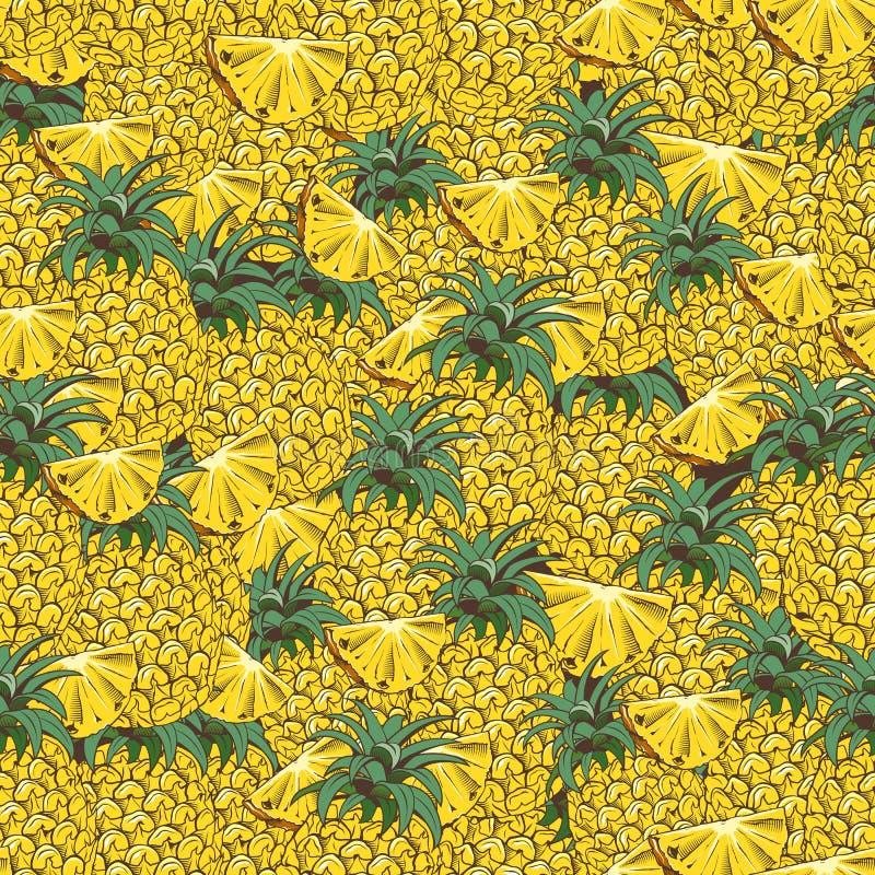 Teste padrão sem emenda do abacaxi do vintage ilustração royalty free