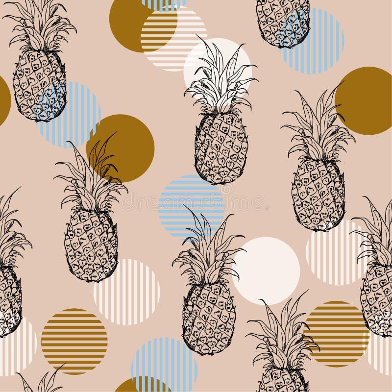 Teste padrão sem emenda do abacaxi fresco na moda do esboço do verão do vintage ilustração stock