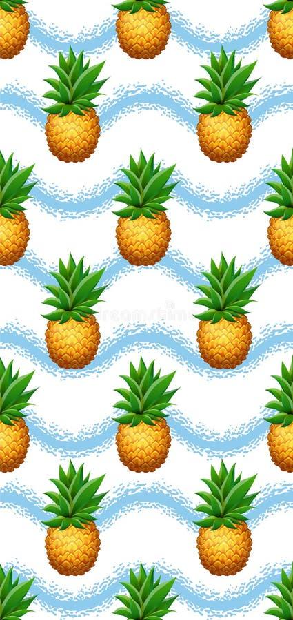 Teste padrão sem emenda do abacaxi Fundo tirado realístico da escova dos abacaxis dos desenhos animados disponível ilustração stock