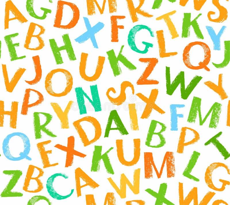 Teste padrão sem emenda do alfabeto inglês, cor, branca ilustração do vetor