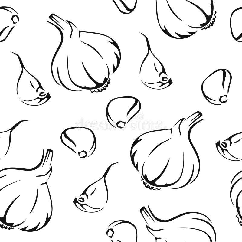 Teste padrão sem emenda do alho Imagem branca preta ilustração stock