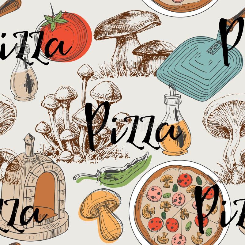 Teste padrão sem emenda do alimento ilustração do vetor