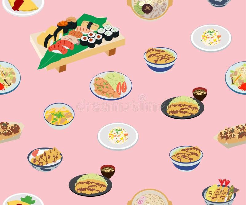Teste padrão sem emenda do alimento bonito japonês ilustração royalty free