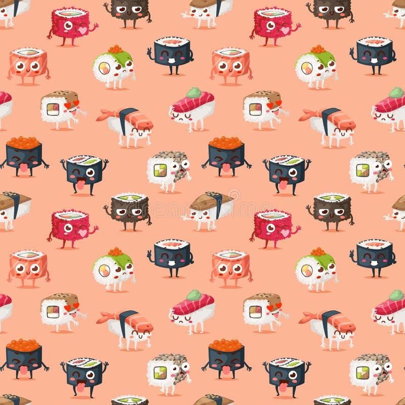 Teste padrão sem emenda do alimento do vetor do caráter do sushi ilustração do vetor