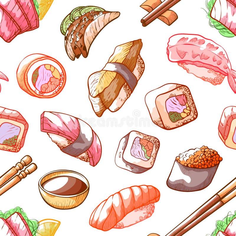 Teste padrão sem emenda do alimento do sushi no fundo branco ilustração do vetor