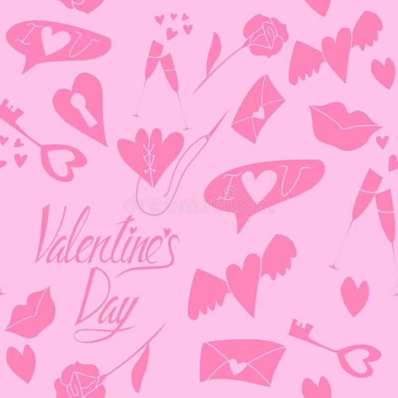 Teste padrão sem emenda do amor ao dia de Valentim ilustração stock