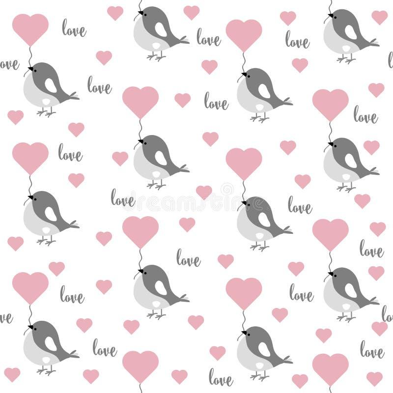 Teste padrão sem emenda do amor com pássaros e corações ilustração stock