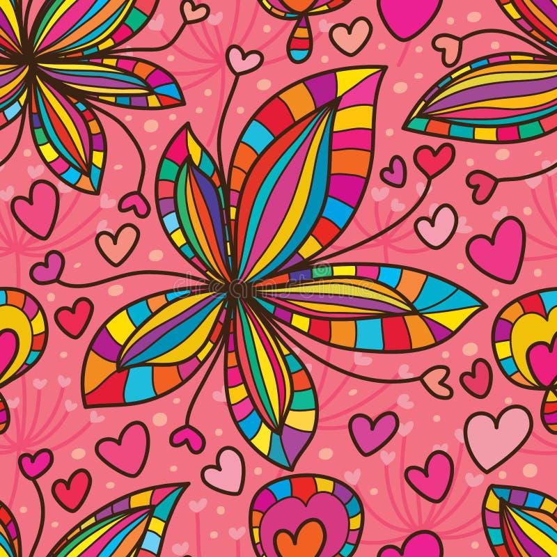 Teste padrão sem emenda do amor do crescimento da folha da flor ilustração do vetor