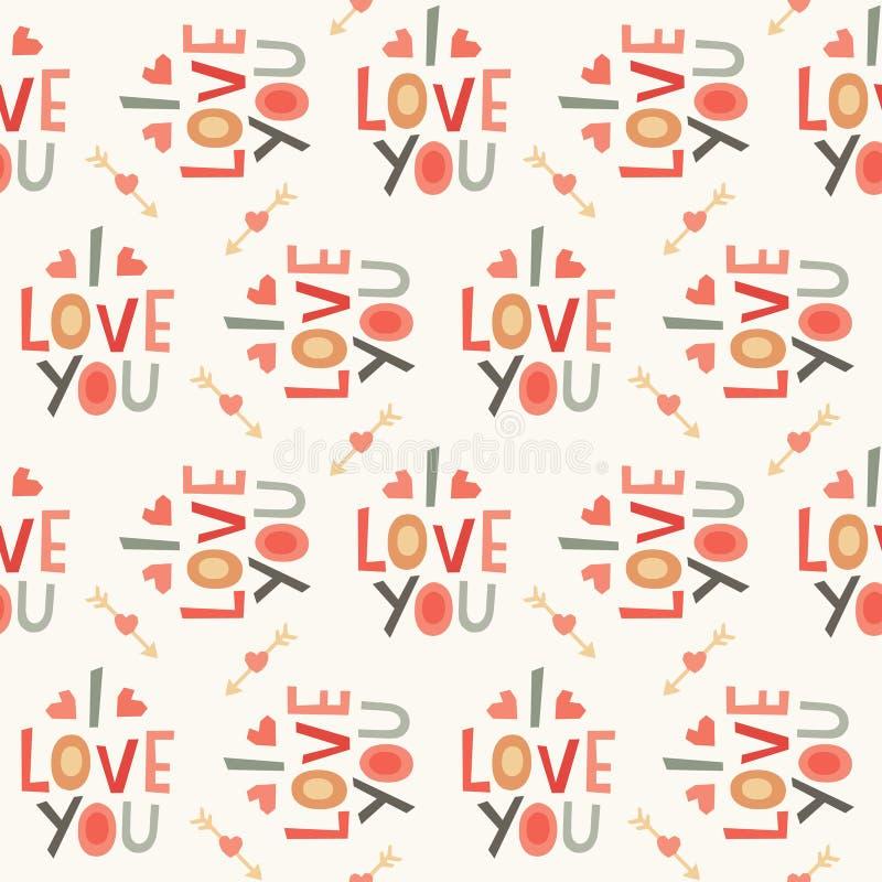 Teste padrão sem emenda do amor do moderno no creme e no vermelho ilustração do vetor