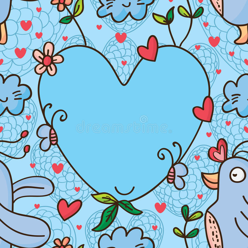 Teste padrão sem emenda do amor do pássaro ilustração stock