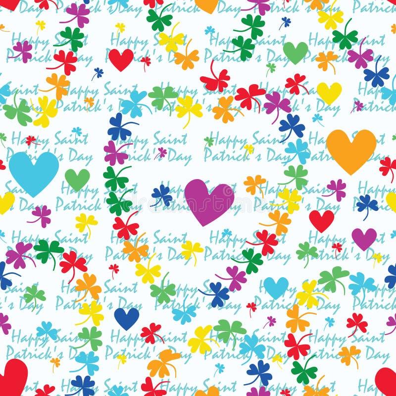 Teste padrão sem emenda do amor do trevo do arco-íris do dia do ` s de St Patrick ilustração royalty free